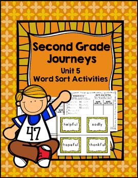 Second Grade Journeys Unit 5 Differentiated Word Sort Activities