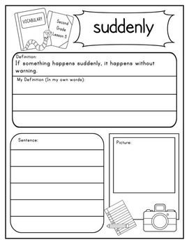 Second Grade Journeys Vocabulary Journal Pages Unit 1 Print and Go