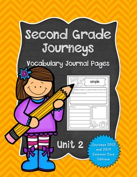 Second Grade Journeys Vocabulary Journal Pages Unit 2 Print and Go