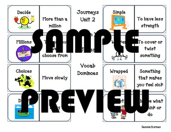 Journeys Vocabulary Unit 2 Lesson 9 How Chipmunk Got His Stripes Dominoes