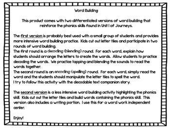 Second Grade Journeys Word Building Unit 1