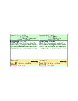 Second Grade LP Template with drop down menus for the Standards (Florida)