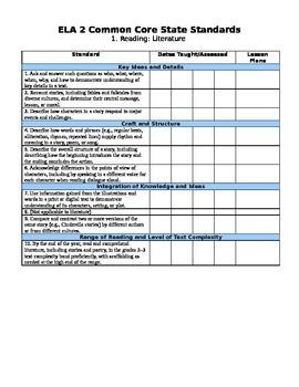 Second Grade Language Arts Common Core Checklist