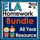 Second Grade ELA Homework Bundle with Digital Option for D