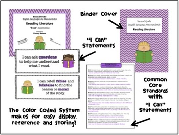 """Second Grade Language Arts """"I Can"""" Statement Cards for Reading Literature"""