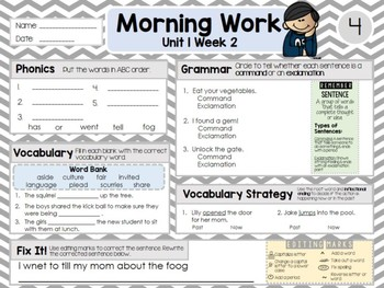 Second Grade Language Arts Morning Work / Homework Unit 1: Week 2