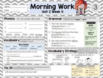 Second Grade Language Arts Morning Work Unit 2: Week 4