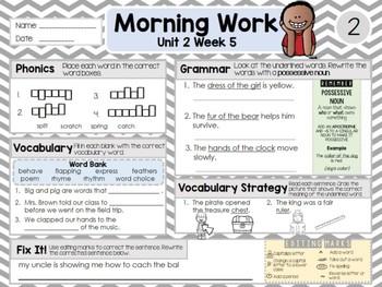 Second Grade Language Arts Morning Work / Homework Unit 2: Week 5