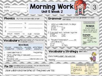 Second Grade Language Arts Morning Work / Homework Unit 5: Week 2