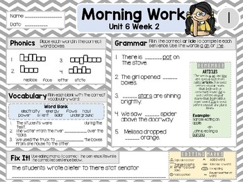 Second Grade Language Arts Morning Work / Homework Unit 6: Week 2