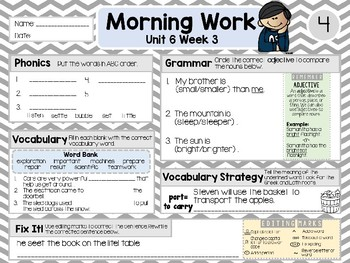 Second Grade Language Arts Morning Work / Homework Unit 6: Week 3