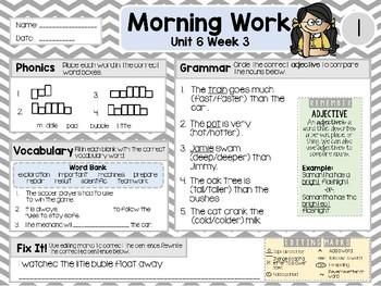 Second Grade Language Arts Morning Work / Homework Unit 6: Week 3