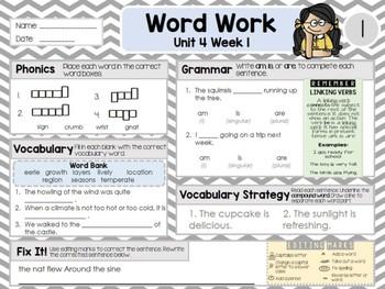 Second Grade Language Arts Morning Work Unit 4: Week 1