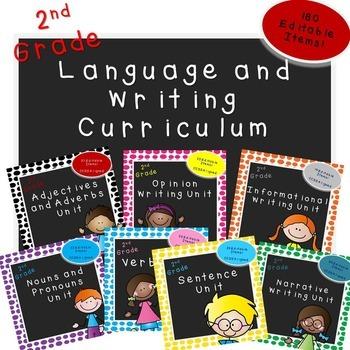 Second Grade Language and Writing Curriculum (7 Unit Bundle)