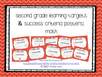 Second Grade Learning Targets & Success Criteria Posters: Math