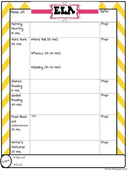 Second Grade Lesson Plan Organizer
