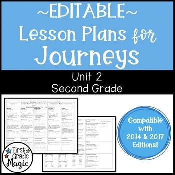 Second Grade Lesson Plans Journeys Unit 2 {EDITABLE!}