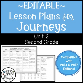 Journeys Lesson Plans Second Grade Unit 2 {EDITABLE!}