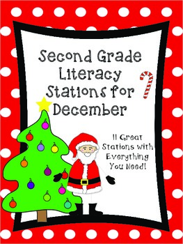 Second Grade Literacy Stations for December with Bonus Calendar Set for December