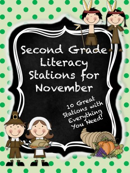 Second Grade Literacy Stations for November with BONUS Cal
