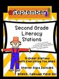 Second Grade Literacy Stations for September with BONUS Calendar Pieces