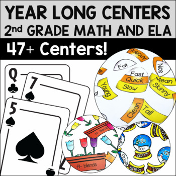 Second Grade Literacy and Math Centers for the Year