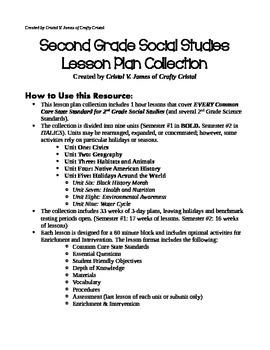 Second Grade Long Range Social Studies Plans (Part 1)