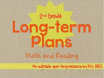 {Editable} BUNDLED Long Term or Year Long Plans For 2nd Grade - Math and Reading