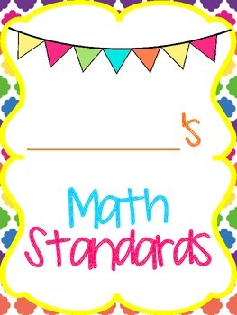 2nd Grade MATH Common Core I Can Student Checklist for Data Notebooks COLOR&B&W
