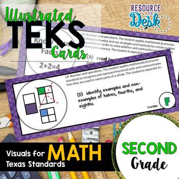 Second Grade MATH TEKS - Illustrated and Organized Objectives Cards