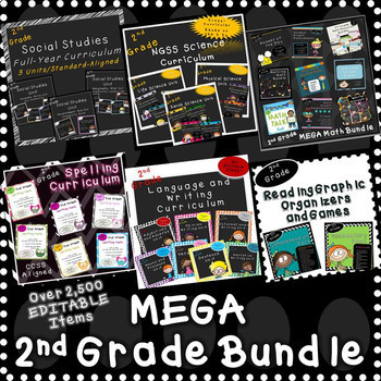 Second Grade Mega Bundle (NOW OVER 2,500 EDITABLE items!)