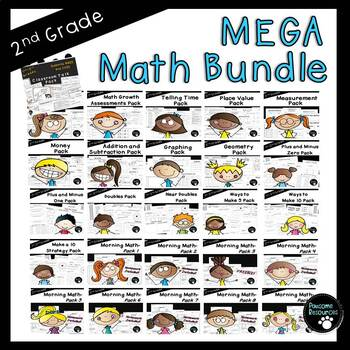 Second Grade Math Bundle (OVER 1400 Items!)