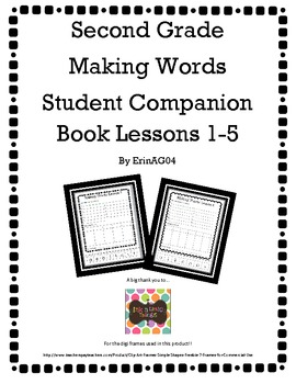 Second Grade Making Words Student Companion Book Lessons 1-5