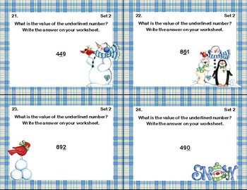 Second Grade Math Centers -160 Task Cards - 5 CCSS Skills-Winter Theme
