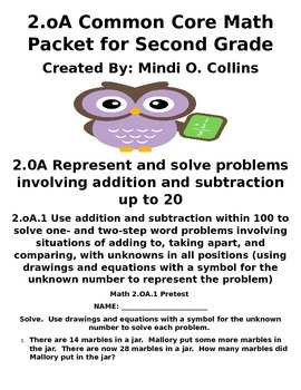 Second Grade Math 2.OA.1 Math Packet