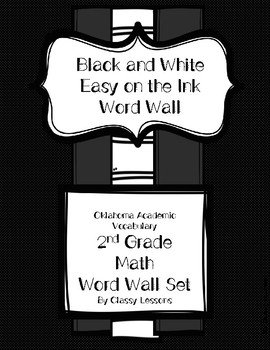 Second Grade Math Academic Vocabulary Word Wall
