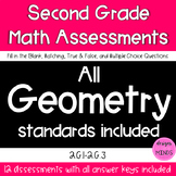Second Grade Math Assessments- 2.G.1, 2.G.2, 2.G.3