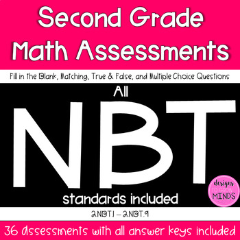 Second Grade Math Assessments- 2.NBT.1-2.NBT.9 Bundle
