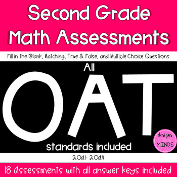 Second Grade Math Assessments- 2.OA.1, 2.OA.2, 2.OA.3, 2.OA.4 Bundle