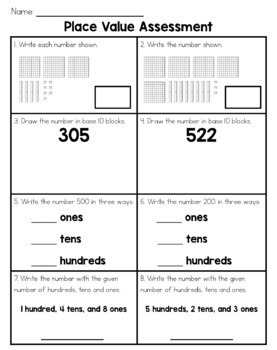 SECOND GRADE MATH ASSESSMENTS