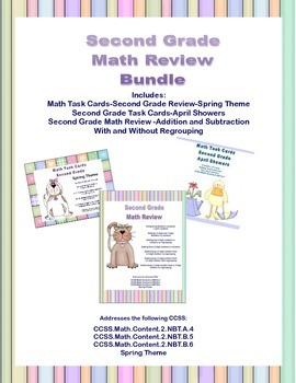 Second Grade Math Bundle- Spring Theme-3 CCSS Addressed