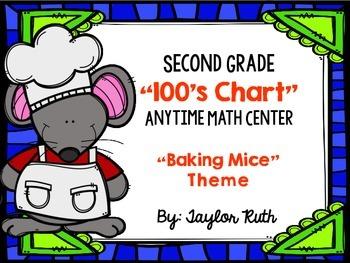 Second Grade Math Center: 100's Chart Math Activity (Baking Mice Theme)