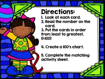Second Grade Math Center: 100's Chart Math Activity (Black and White)