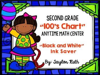 Second Grade Math Center: 100's Chart Math Activity (Black