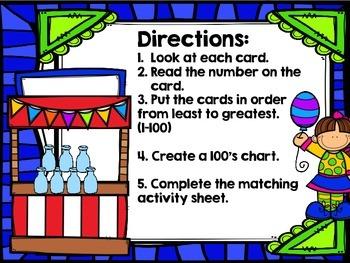 Second Grade Math Center: 100's Chart Math Activity (Carnival Theme)
