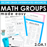 Second Grade Math Centers and Groups (2.OA.1 Word Problems)