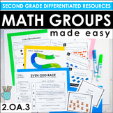 Second Grade Math Centers and Groups (2.OA.3 Even and Odd Groups)