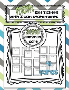 Second Grade Math Common Core Aligned Exit Tickets with I Can statements