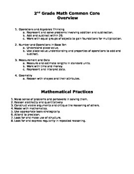 Second Grade Math Common Core Checklist