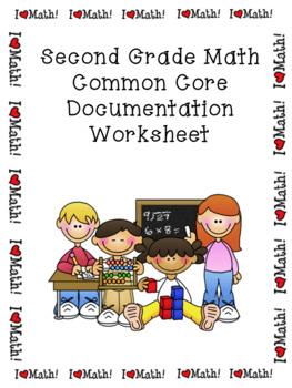 Second Grade Math Common Core Documentation Worksheet
